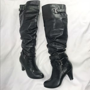 "Rampage ""Pammy"" Knee Length Slouch 3"" Heel Boots"
